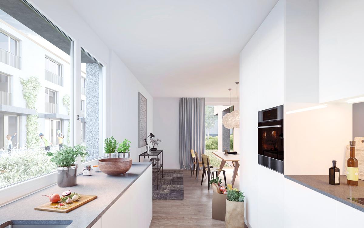 EG Küche mit Blick ins Wohnzimmer