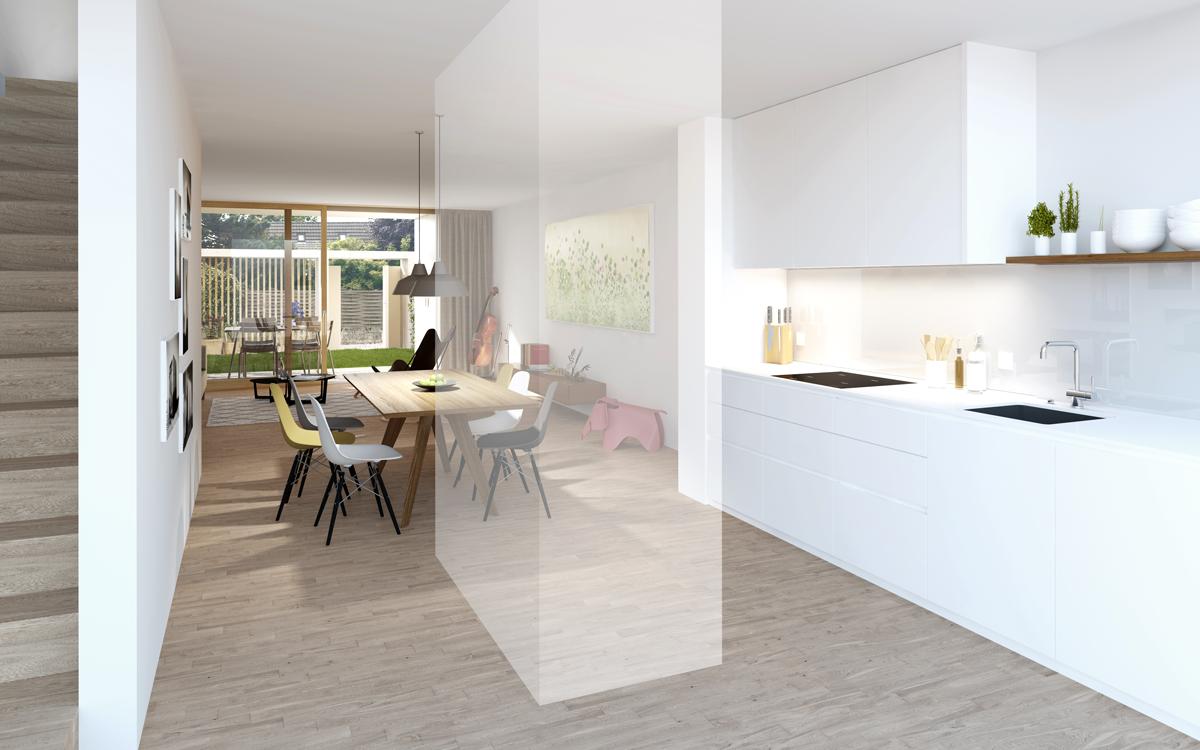 Erdgeschoss mit optionalem Raumteiler (transparent)